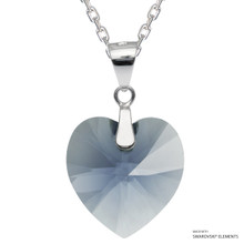 Denim Blue Xilion Heart Necklace Embellished With Swarovski Crystals (NE3R-266)