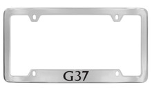 Infiniti G37 Bottom Engraved Chrome Plated Solid Brass License Plate Frame Holder With Black Imprint