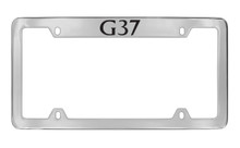 Infiniti G37 Top Engraved Chrome Plated Solid Brass License Plate Frame Holder With Black Imprint