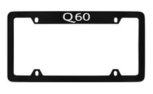 Infiniti Q60 Top Engraved Black Coated Zinc License Plate Frame Holder With Silver Imprint