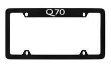 Infiniti Q70 Top Engraved Black Coated Zinc License Plate Frame Holder With Silver Imprint