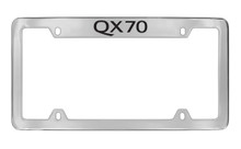 Infiniti QX70 Bottom Engraved Chrome Plated Solid Brass License Plate Frame Holder With Black Imprint