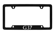 Infiniti G37 Bottom Engraved Black Coated Zinc License Plate Frame Holder With Silver Imprint