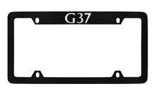 Infiniti G37 Top Engraved Black Coated Zinc License Plate Frame Holder With Silver Imprint