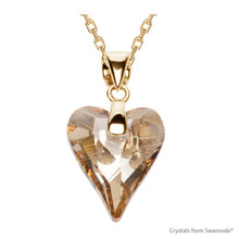 Crystal Golden Shadow Wild Heart Necklace Embellished With Swarovski Crystals (NE4G-001GSHA)