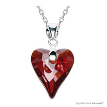 Crystal Red Magma Wild Heart Necklace Embellished With Swarovski Crystals (NE4R-001REDM)