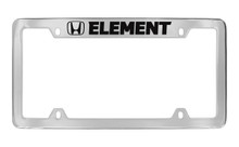Honda Element With Logo Chrome Plated Solid Brass Top Engraved License Plate Frame Holder With Black Imprint