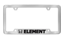 Honda Element With Logo Chrome Plated Solid Brass Bottom Engraved License Plate Frame Holder With Black Imprint
