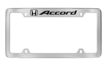 Honda Accrod With Logo Chrome Plated Zinc Top Engraved License Plate Frame Holder With Black Imprint