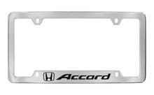 Honda Accrod With Logo Chrome Plated Zinc Bottom Engraved License Plate Frame Holder With Black Imprint