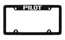 Honda Pilot Top Engraved Black Coated Zinc License Plate Frame Holder With Silver Imprint