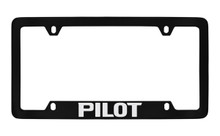 Honda Pilot Bottom Engraved Black Coated Zinc License Plate Frame Holder With Silver Imprint