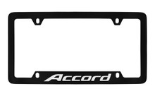 Honda Accord Bottom Engraved Black Coated Zinc License Plate Frame Holder With Silver Imprint