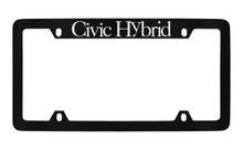 Honda Civic Hybrid Top Engraved Black Coated Zinc License Plate Frame Holder With Silver Imprint
