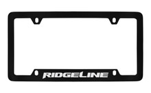 Honda Ridgeline Bottom Engraved Black Coated Zinc License Plate Frame Holder With Silver Imprint