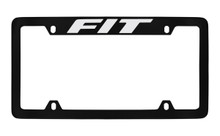 Honda Fit Top Engraved Black Coated Zinc License Plate Frame Holder With Silver Imprint