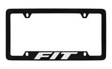 Honda Fit Bottom Engraved Black Coated Zinc License Plate Frame Holder With Silver Imprint