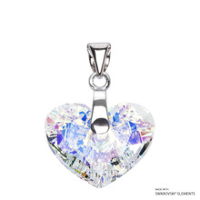 Crystal Aurore Boreale Truly In Love Heart Pendant Embellished With Swarovski Crystals (PE2R-001AB)