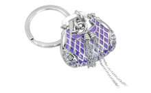 Honda Baroness Chrome Plated Purple Purse Keychain With Purple Crystals