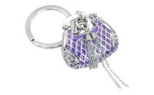 Honda Baroness Chrome Plated Purple Purse Keychain With Purple Crystals