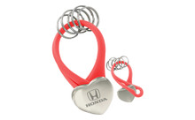 Honda Nickel Plated Heart Shaped Red Pvc Key Holder With 5 Rings In A Black Gift Box