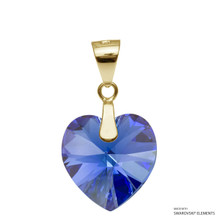 Sapphire Ab Xilion Heart Pendant Embellished With Swarovski Crystals (PE3G-206AB)