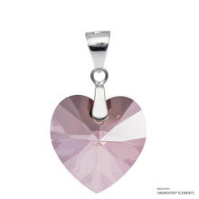 Antique Pink Xilion Heart Pendant Embellished With Swarovski Crystals (PE3R-001ANTP)