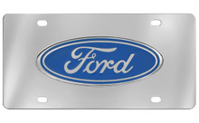 Ford Blue Standard Logo Chrome Plated Solid Brass Emblem Attached To A Stainless Steel Plate