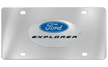 Ford Explorer Chrome Plated Solid Brass Emblem Attached To A Stainless Steel Plate
