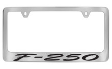 Ford F-250 Script Chrome Plated Solid Brass License Plate Frame Holder With Black Imprint