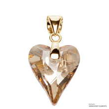 Crystal Golden Shadow Wild Heart Pendant Embellished With Swarovski Crystals (PE4G-001GSHA)