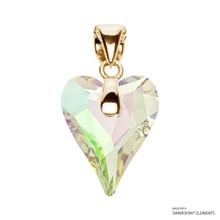Crystal Luminous Green F Wild Heart Pendant Embellished With Swarovski Crystals (PE4G-001LUMG)