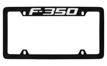 Ford F-350 Top Engraved Black Coated Zinc License Plate Frame Holder With Silver Imprint
