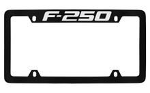 Ford F-250 Top Engraved Black Coated Zinc License Plate Frame Holder With Silver Imprint