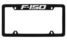 Ford F-150 Top Engraved Black Coated Zinc License Plate Frame Holder With Silver Imprint