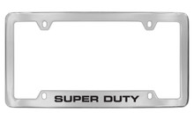 Ford Super Duty Bottom Engraved Chrome Plated Solid Brass License Plate Frame Holder With Black Imprint