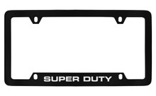 Ford Super Duty Bottom Engraved Black Coated Zinc License Plate Frame Holder With Silver Imprint
