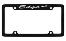 Ford Edge Script Top Engraved Black Coated Zinc License Plate Frame Holder With Silver Imprint
