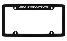 Ford Fusion Top Engraved Black Coated Zinc License Plate Frame Holder With Silver Imprint