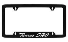 Ford Taurus Sho Script Bottom Engraved Black Coated Zinc License Plate Frame Holder With Silver Imprint