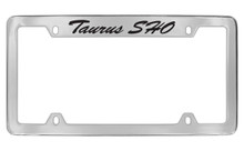 Ford Taurus Sho Script Top Engraved Chrome Plated Solid Brass License Plate Frame Holder With Black Imprint
