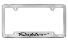 Ford Raptor Script Bottom Engraved Chrome Plated Solid Brass License Plate Frame Holder With Black Imprint