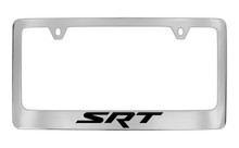 Dodge SRT Chrome Plated Solid Brass License Plate Frame Holder With Black Imprint