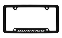 Dodge Durango Black Coated Zinc Bottom Engraved License Plate Frame Holder With Silver Imprint