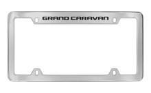 Dodge Grand Caravan Chrome Plated Solid Brass Top Engraved License Plate Frame Holder With Black Imprint