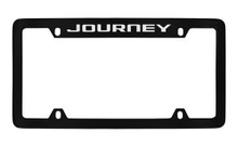 Dodge Journey Black Coated Zinc Top Engraved License Plate Frame Holder With Silver Imprint