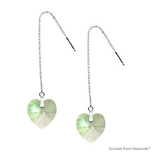 Adjustable Crystal Luminous Green F Xilion Heart Earrings Embellished With Swarovski Crystals