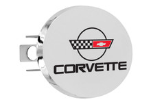 "Chevy Corvette C4 Design Oval Trailer Hitch Cover Plug With 1.25"" Stainless Steel Post"
