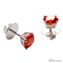 1 Carat Orange Solitaire Earring Made With Swarovski Zirconia
