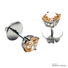 1 Carat Amber Solitaire Earring Made With Swarovski Zirconia